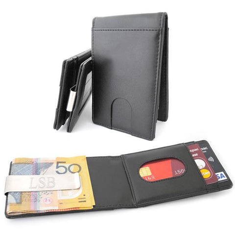 Personalised leather wallet with money clip