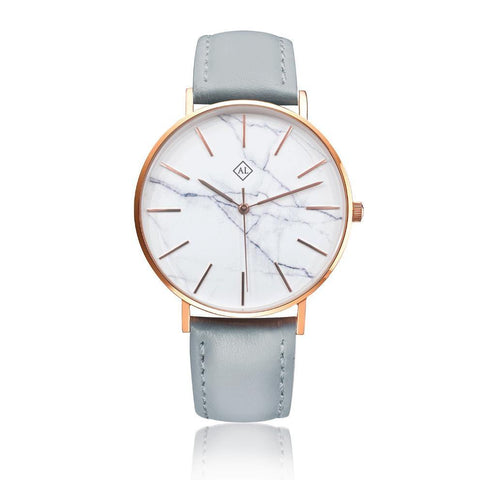 Engraved rose watch marble face with grey leather band - Alexa Lane