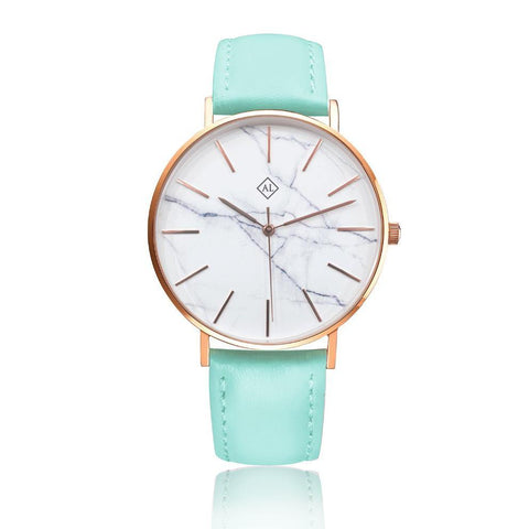 Engraved rose watch marble face with Mint leather band - Alexa Lane