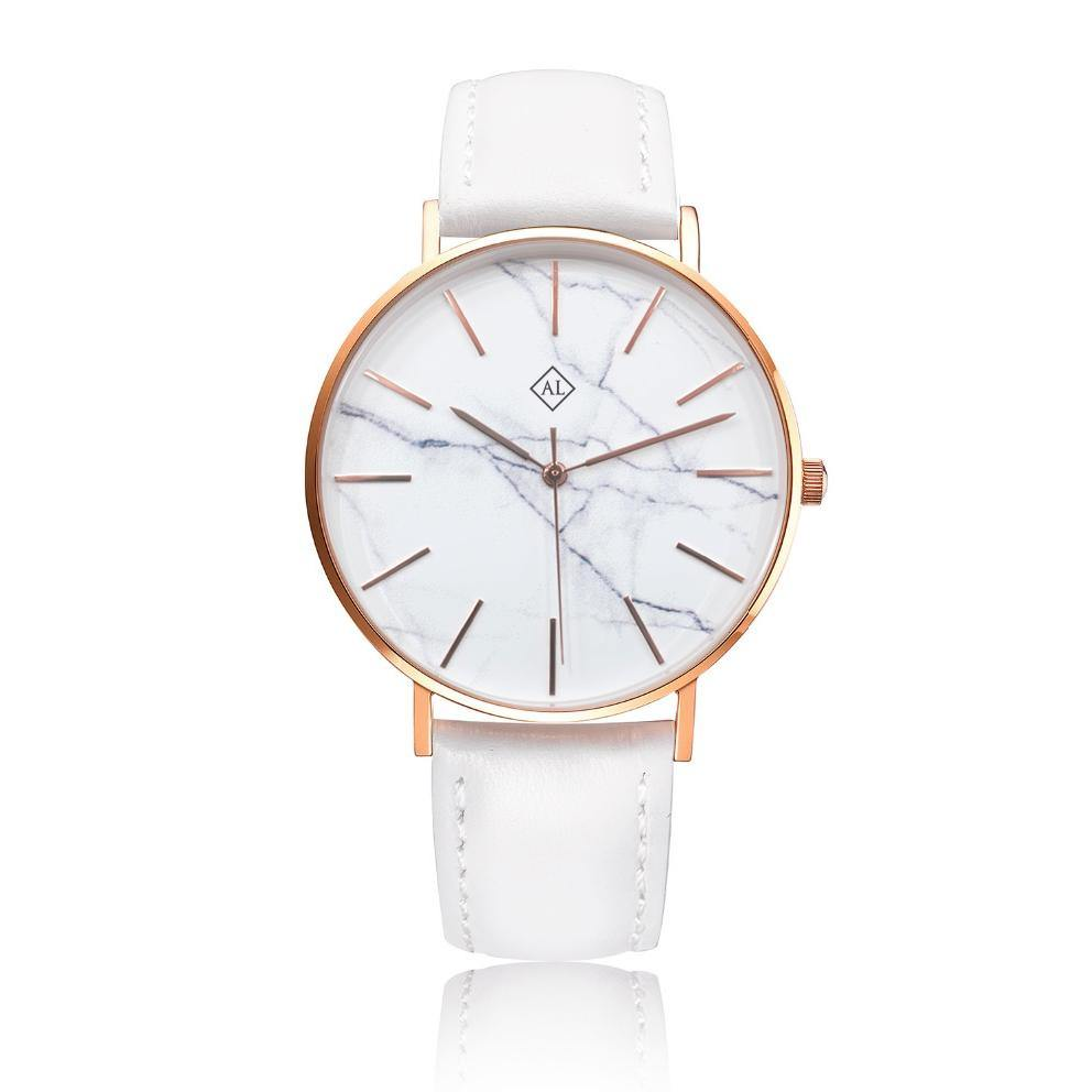 Engraved rose watch marble face with white leather band - Alexa Lane