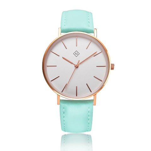Engraved rose watch with Mint leather band - Alexa Lane