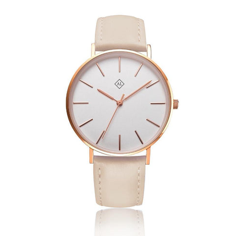 Engraved rose watch with beige leather band - Alexa Lane