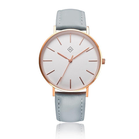 Engraved rose watch with grey leather band - Alexa Lane