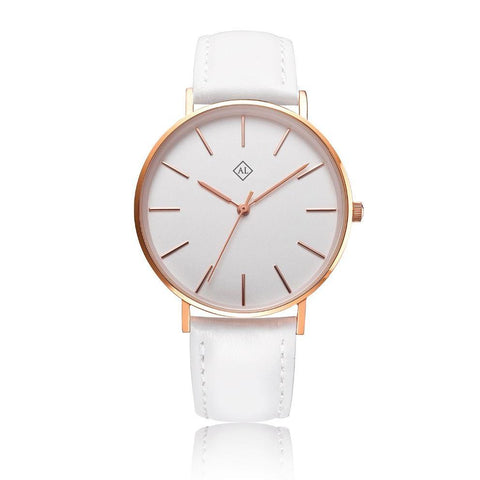 Engraved rose watch with white leather band - Alexa Lane