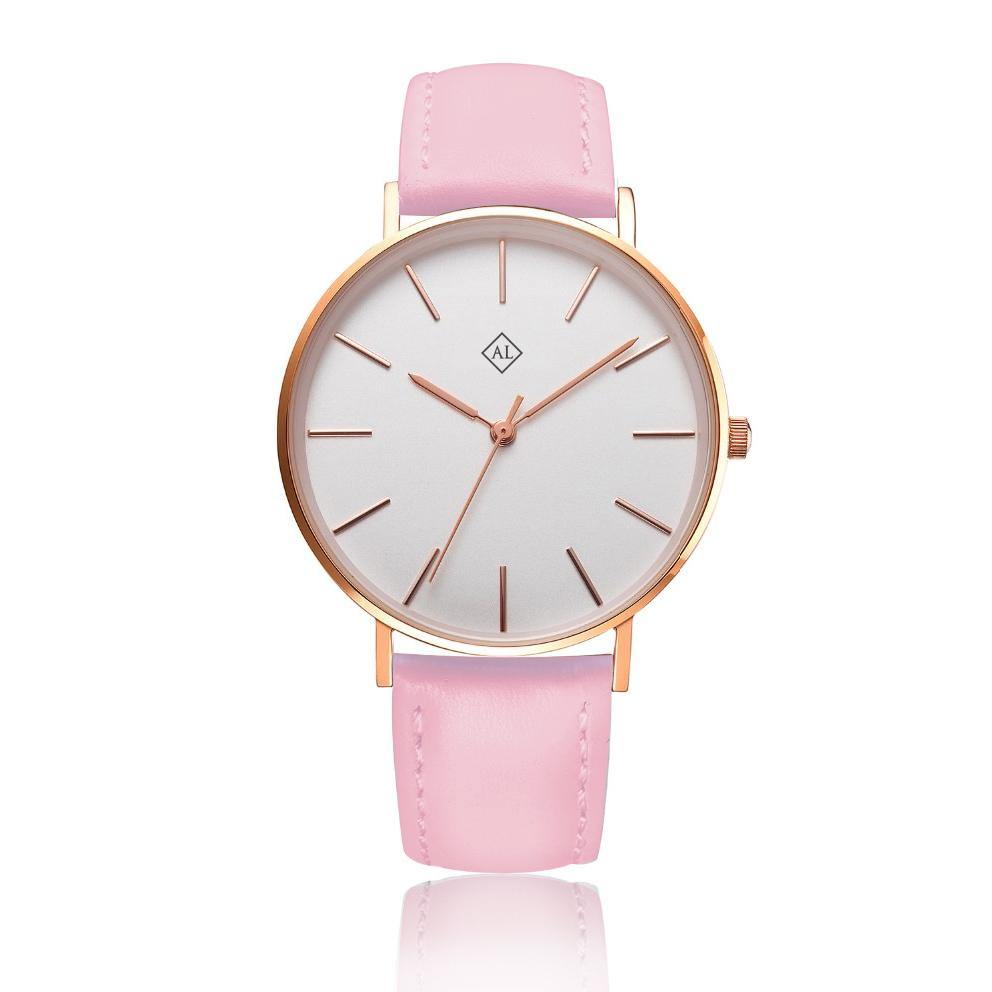 Engraved rose watch with bright pink leather band - Alexa Lane
