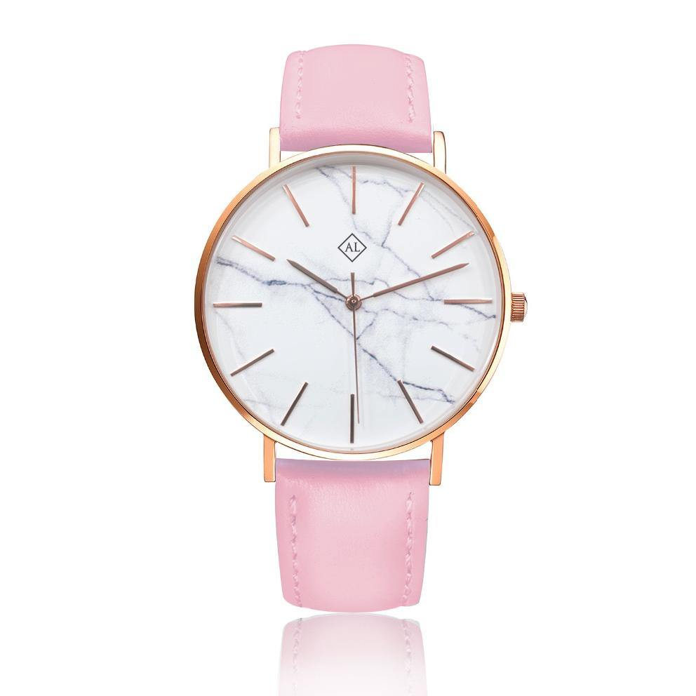 Engraved rose watch marble face with bright pink leather band - Alexa Lane