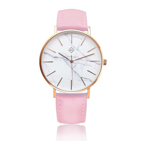 Engraved rose watch marble face with bright pink leather band