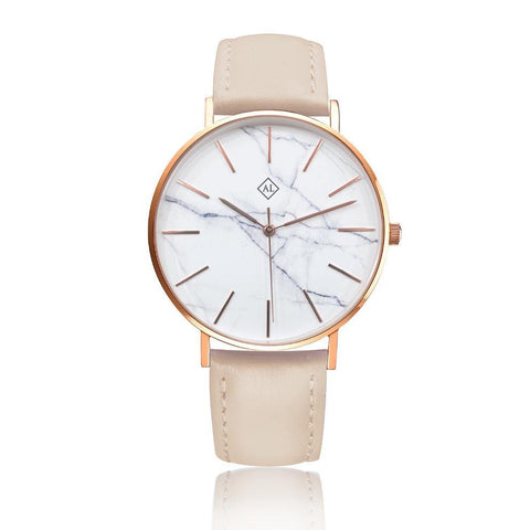Engraved rose watch marble face with cream leather band - Alexa Lane