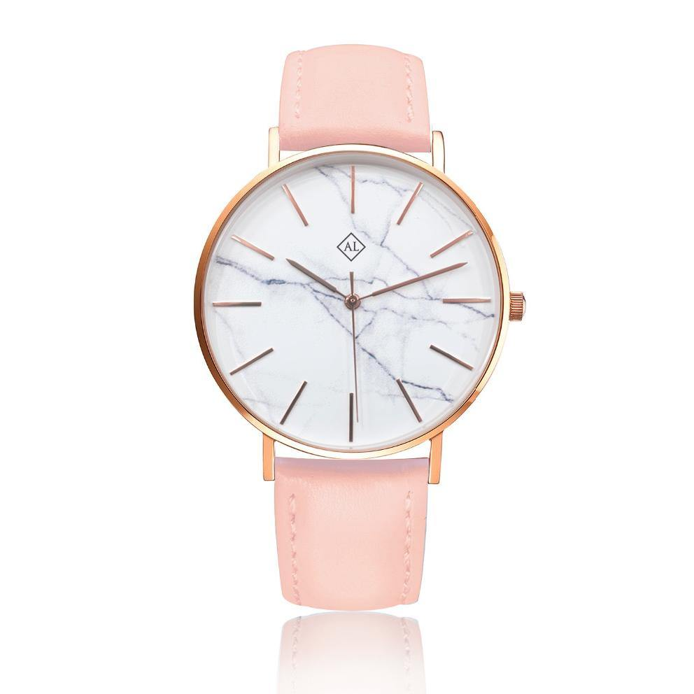 Engraved rose watch marble face with pink leather band