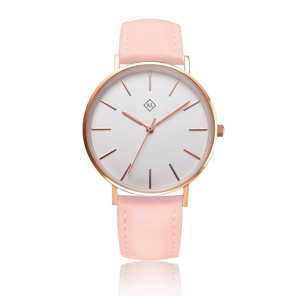 Engraved rose watch with pink leather band
