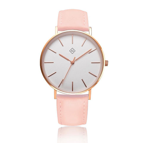 Engraved rose watch with pink leather band - Alexa Lane