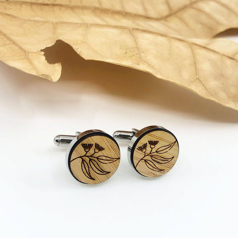 Flora timber etched cufflinks