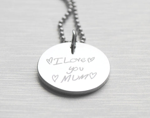 Engraved Stainless Steel Pendant Necklace - your child's original handwriting OR artwork - Alexa Lane