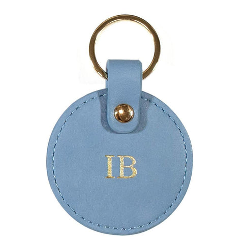 Vegan leather keyring antique blue
