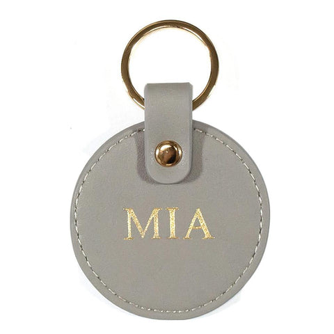 Vegan leather keyring grey