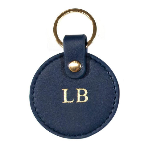 Vegan leather keyring navy
