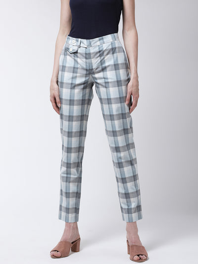 Blue & Off-White Slim Fit Checked Regular Trousers