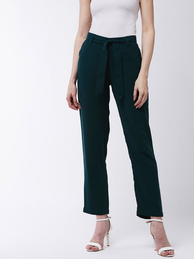 Green Regular Fit Solid Cigarette Trousers