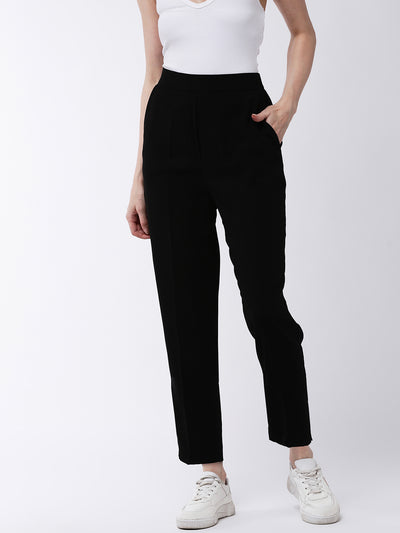 Black Regular Fit Solid Cigarette Trousers