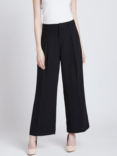 Black Loose Fit Solid Parallel Trousers