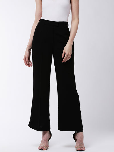 Black Flared Solid Pants
