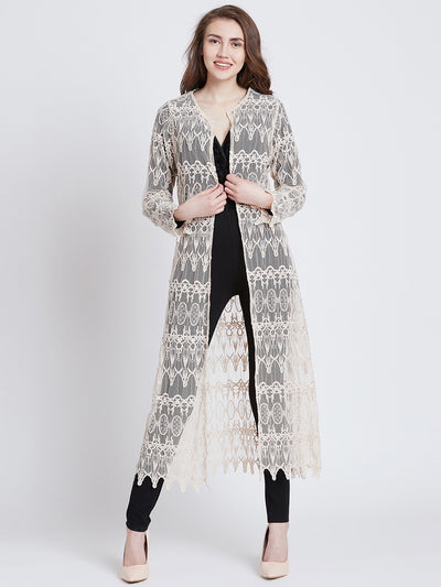 Cream-Coloured Self Design Open Front Shrug
