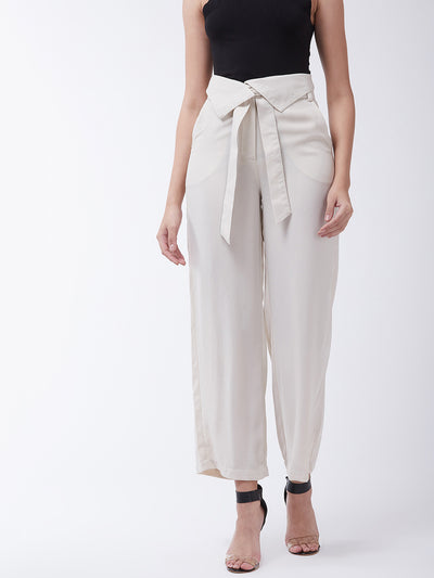 Beige Flared Solid Parallel Trousers