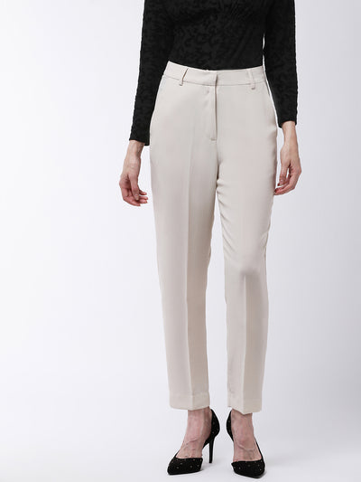 Off-White Slim Fit Solid Regular Trousers