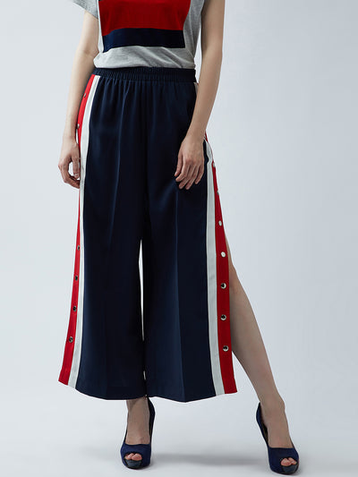 Navy Blue Relaxed Straight Leg Straight Fit Solid Parallel Trousers