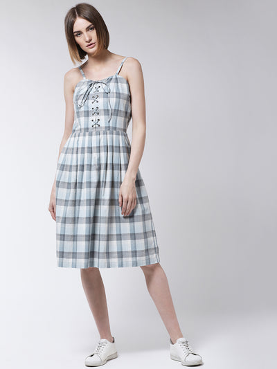 White and Grey Checked Fit and Flare Dress