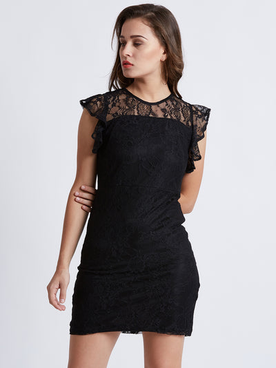 Black Self Design Lace Sheath Dress