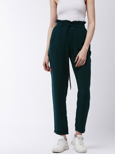 Green Regular Fit Solid Regular Trousers