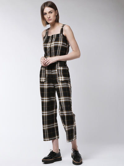 Black & White Checked Capri Jumpsuit