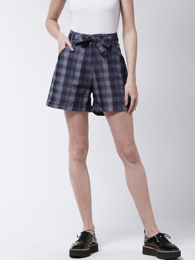 Blue and Grey Checked Regular Fit Shorts