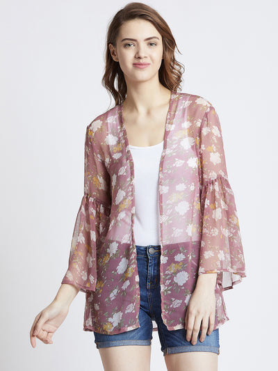 Pink & White Printed Open Front Shrug