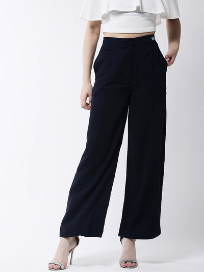 Navy Blue Flared Solid Parallel Trousers
