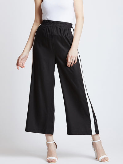 Black Flared Solid Culottes With Side Stripes