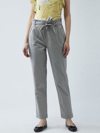 Grey Regular Fit Checked Regular Trousers