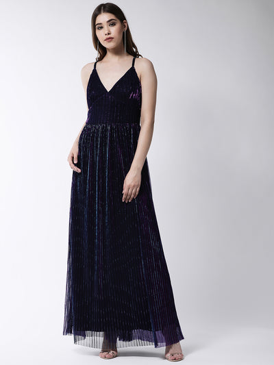 Navy Blue Self Design Maxi Dress