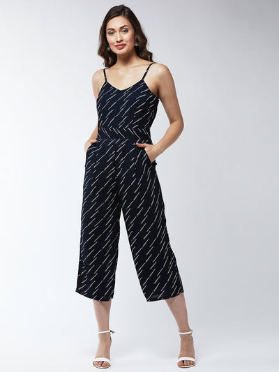 Navy Blue & White Printed Culotte Jumpsuit