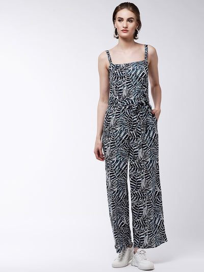 Blue & Black Printed Basic Jumpsuit