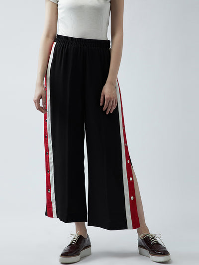 Women Black Relaxed Straight Leg Straight Fit Solid Parallel Trousers