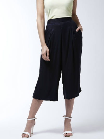 Navy Blue Flared Solid Culottes