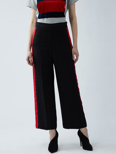 Black Relaxed Straight Leg Straight Fit Solid Parallel Trousers