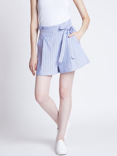 Blue Striped Loose Fit Regular Shorts
