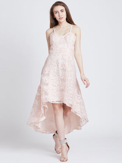 Pink Self Design Cocktail Dress
