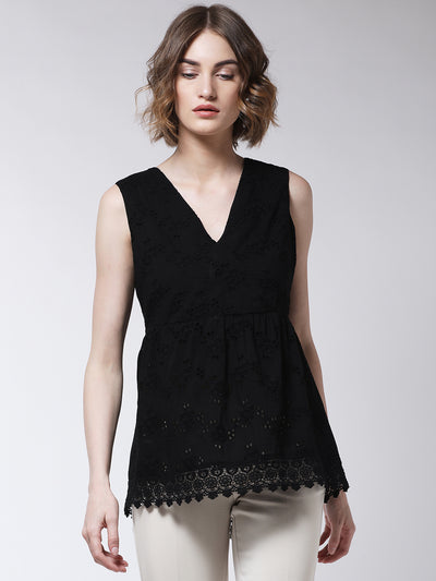 Black Self Design Empire Top