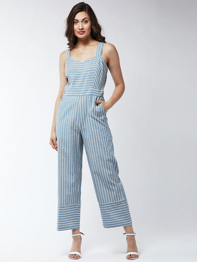 Blue & Off-White Striped Basic Jumpsuit