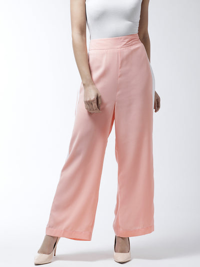 Peach-Coloured Loose Fit Solid Parallel Trousers