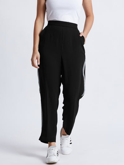 Black Solid Regular Trousers